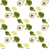 Modèle sans couture de fruits et légumes tirés par la main de Detox Photo stock