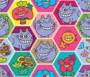 Modèle sans couture de grand chat abstrait d'Alice d'hexagone Photos libres de droits