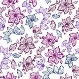 Modèle sans couture de graphique de vecteur avec les feuilles, les perles et les fleurs m illustration de vecteur