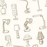 Modèle sans couture de griffonnage avec l'illustration de vecteur de lampes illustration de vecteur