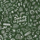 Modèle sans couture de griffonnage de vecteur d'école avec des fournitures scolaires Image libre de droits