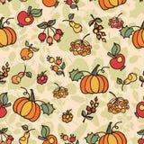Modèle sans couture de griffonnage Fruit de récolte d'automne Images libres de droits
