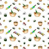 Modèle sans couture de griffonnage japonais de nourriture, fond de VECTEUR, nourriture de rue de festival illustration stock