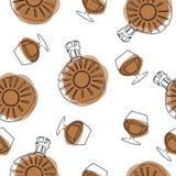 Modèle sans couture de griffonnage de style en verre minuscules d'alcool Bords tirés par la main et inégaux gratuits Martini, cha illustration libre de droits