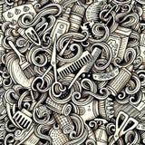 Modèle sans couture de griffonnages artistiques graphiques de salon de coiffure illustration de vecteur