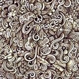 Modèle sans couture de griffonnages artistiques tirés par la main hippies graphiques Photographie stock libre de droits