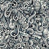 Modèle sans couture de griffonnages artistiques tirés par la main hippies graphiques Images libres de droits