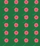 Modèle sans couture de grille rose de fleurs sur le fond vert photographie stock libre de droits
