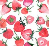 Modèle sans couture de groupe savoureux de fraises Photos libres de droits