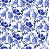 Modèle sans couture de gzhel russe de style Fond floral Basé sur la peinture nationale de porcelaine illustration stock