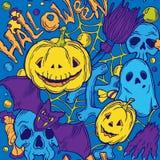 Modèle sans couture de Halloween avec des éléments d'horreur illustration libre de droits