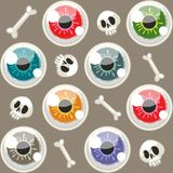 Modèle sans couture de Halloween avec des yeux sur Gray Background illustration libre de droits