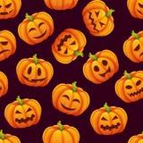 Modèle sans couture de Halloween avec différentes émotions drôles des potirons Image libre de droits