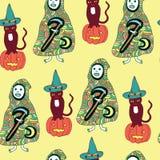 Modèle sans couture de Halloween avec le chat, potiron, la mort, moissonneuse Image libre de droits