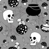 Modèle sans couture de Halloween avec le crâne faisant cuire le pot et la bouteille de poison illustration stock