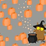 Modèle sans couture de Halloween avec le hibou Image libre de droits