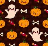Modèle sans couture de Halloween avec le kawaii mignon illustration libre de droits