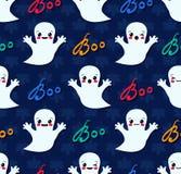 Modèle sans couture de Halloween avec les fantômes mignons de kawaii illustration libre de droits