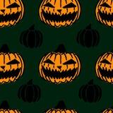 Modèle sans couture de Halloween avec les potirons effrayants, texture de tuile avec des lanternes de crics, conception pour le p illustration de vecteur
