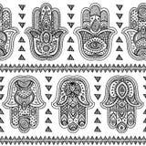 Modèle sans couture de hamsa tiré par la main indien de vecteur Photo libre de droits