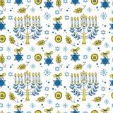 Modèle sans couture de Hanoucca Images libres de droits