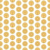 Modèle sans couture de Hanoucca Gelt illustration stock