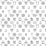 Modèle sans couture de Hanoucca Simbols de Hanoucca Bougies, menorah, sufganiot et dreidel de Hanoucca Images stock
