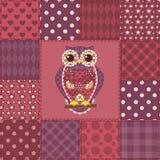 Modèle sans couture 3 de hibou de patchwork Images stock