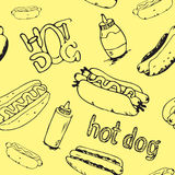 Modèle sans couture de hot-dogs illustration libre de droits