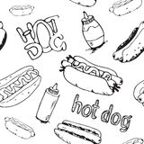Modèle sans couture de hot-dogs illustration de vecteur