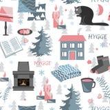 Modèle sans couture de Hygge Dirigez l'illustration avec des usines de forêt et des choses à la maison confortables illustration libre de droits