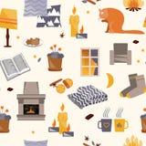 Modèle sans couture de hygge mignon Maison confortable illustration stock