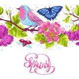 Modèle sans couture de jardin de ressort Illustration naturelle avec la fleur de fleur, la birdie de merle et le papillon Photos libres de droits