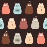 Modèle sans couture de joli textile coloré de chats illustration de vecteur