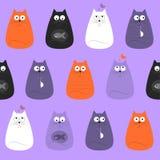 Modèle sans couture de joli textile coloré de chats illustration stock