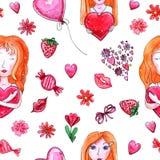 Modèle sans couture de jour du ` s de Valentine d'aquarelle illustration stock