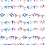 Modèle sans couture de Jour du Souvenir d'aquarelle avec les drapeaux rayés, d'isolement sur le fond blanc Couleurs traditionnell illustration stock