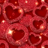 Modèle sans couture de jour de valentines avec les coeurs brillants Illustration de carte de vacances sur le fond rouge illustration stock