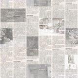 Modèle sans couture de journal avec le fond de papier illisible de texture de vieux cru photos stock