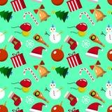 Modèle sans couture de Joyeux Noël avec des éléments de nouvelles années Illustration de vecteur de conception plate Photos stock