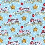 Modèle sans couture de Joyeux Noël avec des étoiles photos stock