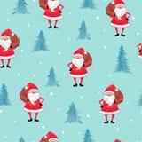 Modèle sans couture de Joyeux Noël avec l'aquarelle Santa Claus et l'arbre de Noël illustration libre de droits