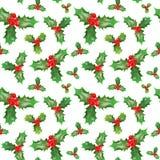 Modèle sans couture de Joyeux Noël et de bonne année avec Holly Berries Papier d'emballage de vacances d'hiver Images stock
