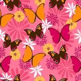 Modèle sans couture de jungle avec des papillons sur le fond rose Images libres de droits