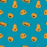 Modèle sans couture de Kawaii Halloween avec des potirons illustration de vecteur