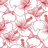 Modèle sans couture de ketmie rouge et blanche Aloha Shirt Background hawaïenne Photo stock