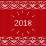 Modèle sans couture de Knit Texture tricotée avec l'inscription 2018 Le VE Photo stock