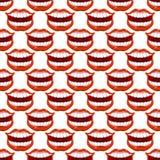 Modèle sans couture de lèvre gaie de sourire Lèvres rouges et te blanc de dents Photographie stock