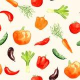Modèle sans couture de légumes d'aquarelle Photographie stock