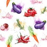 Modèle sans couture de légumes d'aquarelle Photos libres de droits